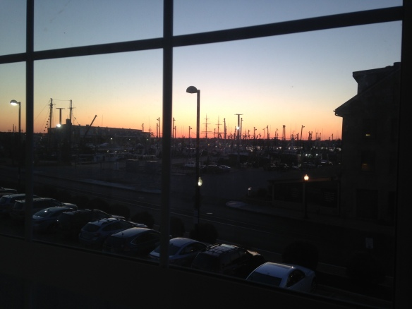 New Bedford harbor from hotel window before sunrise on June 28